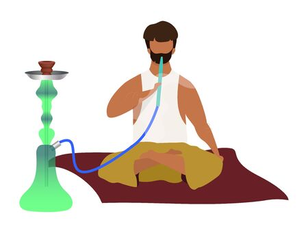 Arabic man sitting and smoking hookah flat color vector faceless character. Eastern traditional, smoking culture. Egyptian guy with shisha, hooka isolated cartoon illustration on white background