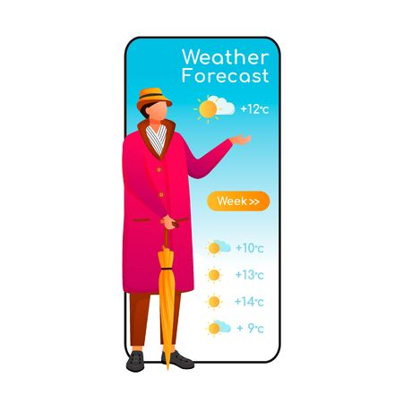 Weather forecast cartoon smartphone vector app screen. Mobile phone display, flat character design mockup. Person with umbrella. Caucasian man in raincoat. Meteorology application telephone interface