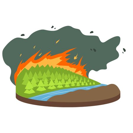 Wildfire cartoon vector illustration. Burning forest, woods. Fire destroying woodland. Cataclysm. Extreme weather conditions. Flat color natural disaster isolated on white background Standard-Bild - 139633285