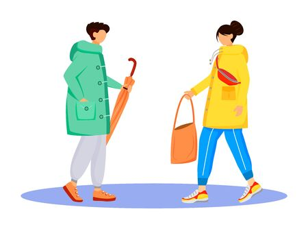 People in raincoats flat color vector faceless characters. Walking caucasian humans. Rainy day. Male with umbrella. Female with bag in hand isolated cartoon illustration on white background