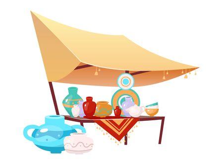 Basarmarkise mit handgemachter Keramikkarikatur-Vektorillustration. Ägypten, Istanbul Marktplatz Zelt flaches Farbobjekt. Outdoor-Messe-Überdachung mit handgefertigter Keramik auf weißem Hintergrund Vektorgrafik