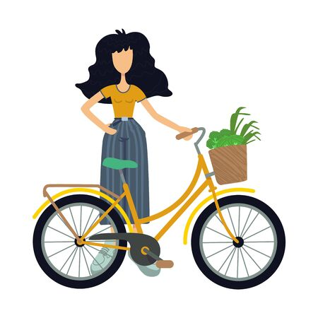 Zero waste flat cartoon vector illustration. Standing woman in casual wear. Eco transport. Cycling. Ready to use 2d character template for commercial, animation, printing design. Isolated comic hero Illustration
