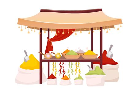 Indian bazaar tent with spices and herbs cartoon vector illustration. Eastern market awning with exotic seasoning, traditional curry and chili flat color object. Eastern canopy isolated on white