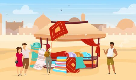 Tourists choosing persian rugs flat vector illustration. Eastern outdoor market. Trade awning with carpets on marketplace. Egyptian bazaar faceless cartoon characters with deserts town on background