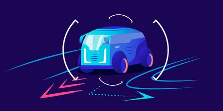 Automobile navigation flat color vector illustration. Smart driver assistance, automobile movement prediction, traffic analyzing system interface. Van taking turn on blue background