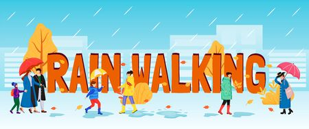 Rain walking word concepts flat color vector banner. Isolated typography with tiny cartoon characters. Caucasian humans with umbrellas. Wet day. People in raincoats creative illustration Stock Illustratie