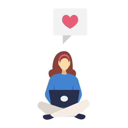 Girl with laptop semi flat RGB color vector illustration. Woman leaving positive review. Person surfing Internet, liking social media posts. Isolated cartoon character on white background