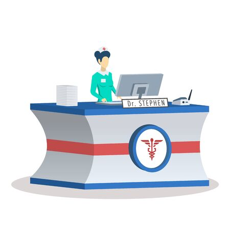 Receptionist at medical center semi flat RGB color vector illustration. Clinic lobby. Office manager. Faceless female administrator. Hospital employee. Isolated cartoon character on white background