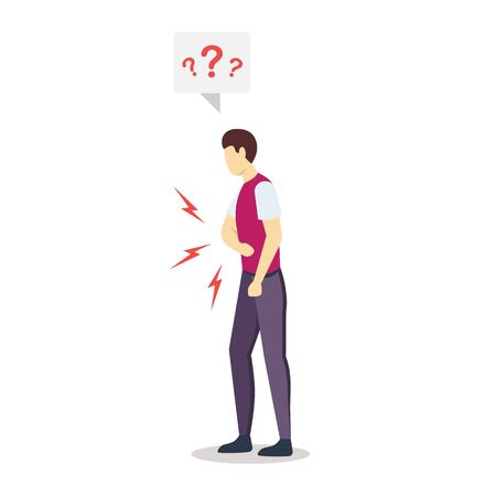 Man having stomach ache semi flat RGB color vector illustration. Angry, irritated, confused person. Guy feeling bad. Health problem. Illness. Food poisoning. Isolated cartoon character on white Illustration