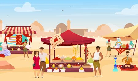 Arabic bazaar flat color vector illustration. Tourists at turkish marketplace with trade awnings. Travelers buying egyptian souvenirs faceless cartoon characters with desert town on background