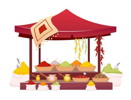 Indian bazaar tent with spices cartoon vector illustration. Thailand market awning with exotic seasoning, traditional herbs flat color object. Oriental canopy isolated on white background
