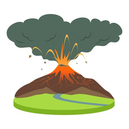 Volcano eruption in rural area cartoon vector illustration. Volcanic activity. Active volcano spewing lava and smoke. Catastrophe, calamity. Flat color natural disaster isolated on white background