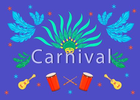 Carnival banner flat vector template. Brochure, poster concept design with cartoon illustrations. Ethnic festival. National holiday. Masquerade parade horizontal flyer, leaflet with text Vectores