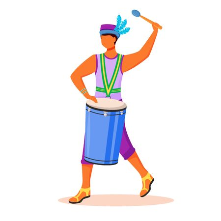 Brazil carnival drummer flat color vector faceless character. Latino man in singlet and hat. Samba. Guy playing on conga by drumstick isolated cartoon illustration for web graphic design and animation Illusztráció