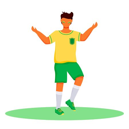 Football fan flat color vector faceless character. Standing teenager with brazilian flag colors strips on cheeks. Latino boy in sportswear isolated cartoon illustration for web design and animation Banco de Imagens - 140093638