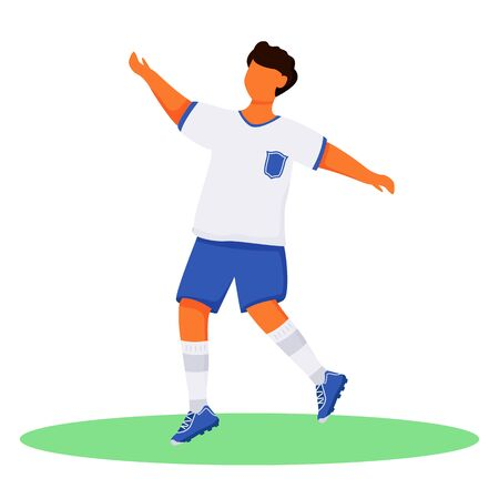 Running teenager in sportswear flat color vector faceless character. Football player. Brazil carnival. Athlete. Latino boy in shorts isolated cartoon illustration for web graphic design and animation Иллюстрация