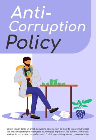 Anti-corruption policy poster flat vector template. Bribery. Corrupt businessman. Illegal financial gain. Brochure, booklet one page concept design with cartoon characters. Flyer, leaflet Vektoros illusztráció
