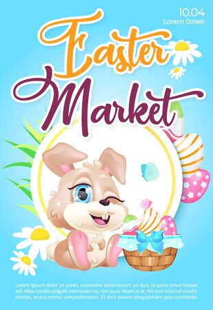 Easter market poster flat vector template. Pascha fair. Brochure, booklet one page concept design with bunny and basket of eggs kawaii cartoon characters. Spring holiday celebration flyer, leaflet