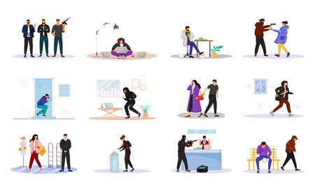 Criminals flat color vector faceless characters set. Criminal grouping. Housebreakers. Corruption. Armed robbery. Property theft. Pickpocket. Felons isolated cartoon illustrations on white background