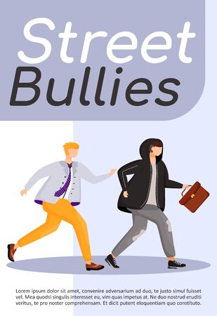 Street bullies poster flat vector template. Man chasing thief. Robber stealing briefcase. Robbery, burglary. Brochure, booklet one page concept design with cartoon characters. Flyer, leaflet