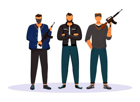 Criminal gang flat color vector faceless character. Group of gangsters, armed terrorists. Mob, syndicate. Mafia. Organized crime isolated cartoon illustration for web graphic design and animation