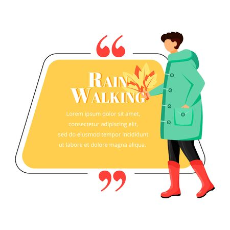 Rain walking flat color vector character quote. Wet weather. Man in raincoat. Caucasian guy in gumboots with leves. Citation blank frame template. Speech bubble. Quotation empty text box design