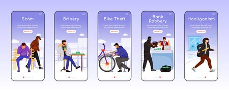 Criminal activity onboarding mobile app screen flat vector template. Scam, bribery. Bike theft. Walkthrough website steps with characters. UX, UI, GUI smartphone cartoon interface, case prints set