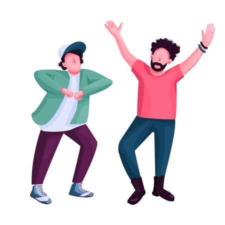 Men dancing flat color vector faceless character. Stylish friends at nightclub disco party. Modern dance, guys at discotheque isolated cartoon illustration for web graphic design and animation