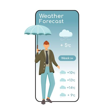 Weather forecast cartoon smartphone vector app screen. Mobile phone display with flat character design mockup. Male with umbrella. Caucasian man in jacket. Meteorology application telephone interface