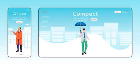 Compact umbrella landing page flat color vector template. Mobile display. Man in jacket homepage layout. Wet day one page website interface, cartoon character. Fashionable male web banner, webpage