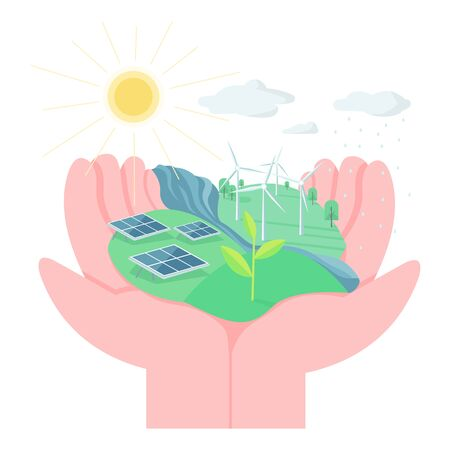 Environment protection flat concept vector illustration. Hands holding land with solar panels and wind turbines. Eco friendly living 2D cartoon element for web design. Use alternative energy creative Ilustração