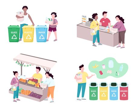 People sorting trash flat color vector faceless characters set. Customers using reusable bags for grocery, making purchases. Zero waste lifestyle isolated cartoon illustrations on white background Ilustração