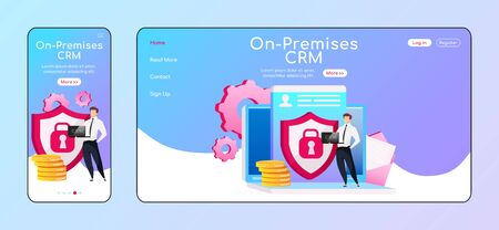 On premises CRM adaptive landing page flat color vector template. Smiling male keeps laptop mobile and PC homepage layout. Local host one page website UI. Info security webpage cross platform design Illustration