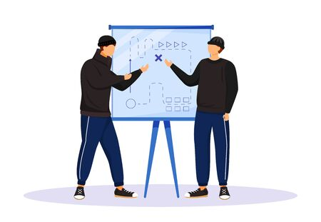 Two men planning criminal act flat color vector faceless character. Criminals preparing for attack. Robbers looking at map drawn on whiteboard. Isolated cartoon illustration