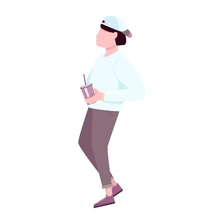 Trendy guy with disposable plastic cup flat color vector faceless character. Fashion young man drinking hot coffee beverage to go isolated cartoon illustration for web graphic design and animation