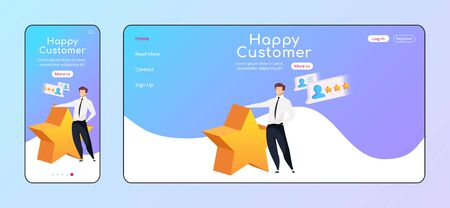 Happy customer adaptive landing page flat color vector template. Smiling man with star mobile and PC homepage layout. High rating one page website UI. CRM system webpage cross platform design