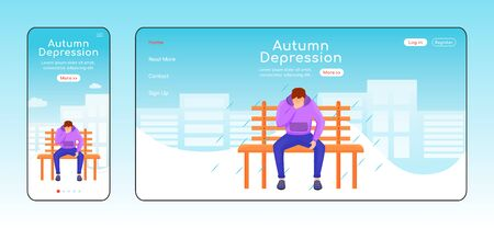 Autumn depression landing page flat color vector template. Melancholy homepage layout. Mobile display. Seasonal melancholy one page website interface, cartoon character. Wet weather banner, webpage Ilustração