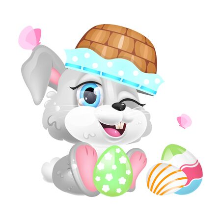 Cute Easter rabbit with basket on head kawaii cartoon vector character. Adorable and funny animal winking isolated sticker, patch. Anime baby bunny playing with Pascha eggs emoji on white background Stock Illustratie
