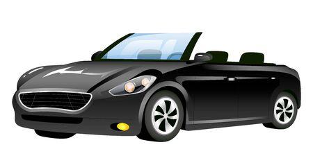 Black cabriolet cartoon vector illustration. Stylish new car flat color object. Elegant personal vehicle isolated on white background. Stylish transport, elegant automobile without roof Illustration