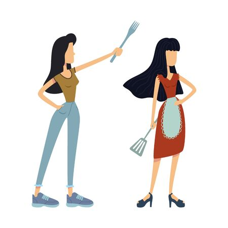Housewives with kitchen utensils flat cartoon vector illustrations kit. Women holding cooking spatula. Ready to use 2d comic character set templates for commercial, animation, printing