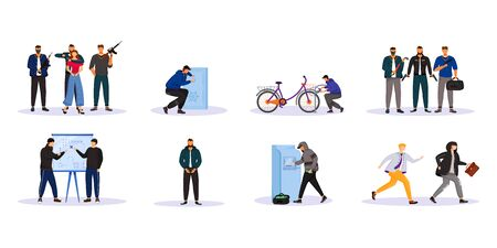 Criminal activity flat color vector faceless characters set. Organized crime. Mobs, groupings. Street burglary. Money, property theft. Isolated cartoon illustrations on white background