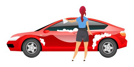 Lady washing car flat color vector faceless character. Young woman polishing sedan with rag isolated cartoon illustration  for web graphic design and animation. Girl in casual clothes cleaning auto Illustration