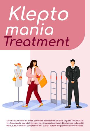 Kleptomania treatment poster flat vector template. Shop theft. Shoplifting. Woman stealing purse. Urge to steal. Brochure, booklet one page concept design with cartoon characters. Flyer, leaflet