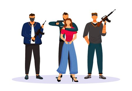Criminal grouping with tied hostage flat color vector faceless character. Woman seized by armed gangsters. Girl kidnapped by criminals. Isolated cartoon illustration Vectores