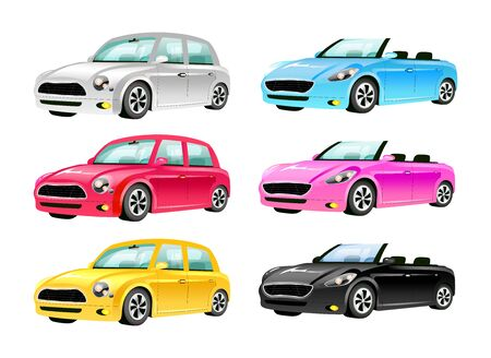 Cars flat color vector objects set. Mini cooper and cabriolet 2D isolated cartoon illustrations on white background. Luxurious auto without roof and vintage personal transport in different colors