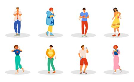 Healthcare problems flat color vector faceless characters set. Woman sneezing. Man with sore throat. People with body aches. Disease symptoms isolated cartoon illustrations on white background Ilustrace