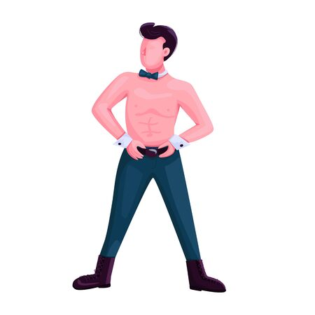 Male strip dancer flat color vector faceless character. Alluring dance attractive performer. Man with torso isolated cartoon illustration for web graphic design and animation