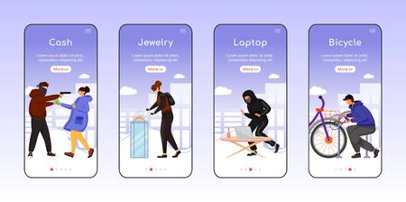 Property theft onboarding mobile app screen flat vector template. Cash, jewelry. Laptop, bicycle. Walkthrough website steps with characters. UX, UI, GUI smartphone cartoon interface, case prints set