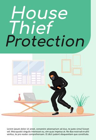 House thief protection poster flat vector template. Precautions. Burglar stealing laptop. Housebreaker. Brochure, booklet one page concept design with cartoon characters. Flyer, leaflet