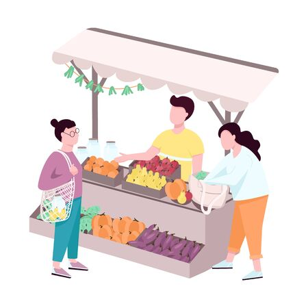Outdoor street farmer market flat vector faceless characters. Trade tent with eco products. Buyers choosing natural and organic assortment isolated cartoon illustration for web design and animation
